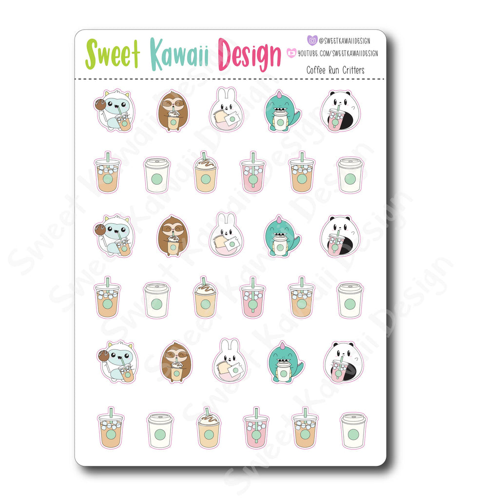 Kawaii Coffee Run Critter Stickers