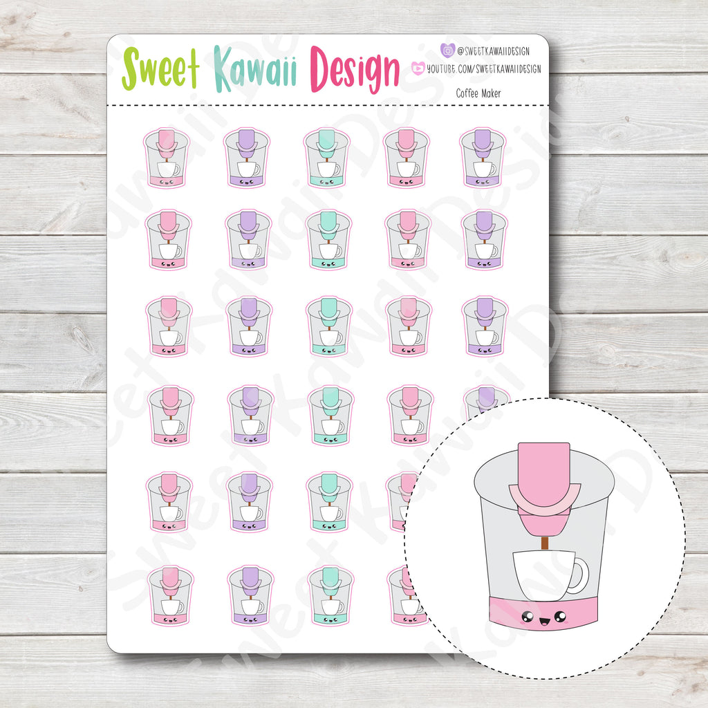 Kawaii Coffee Maker Stickers