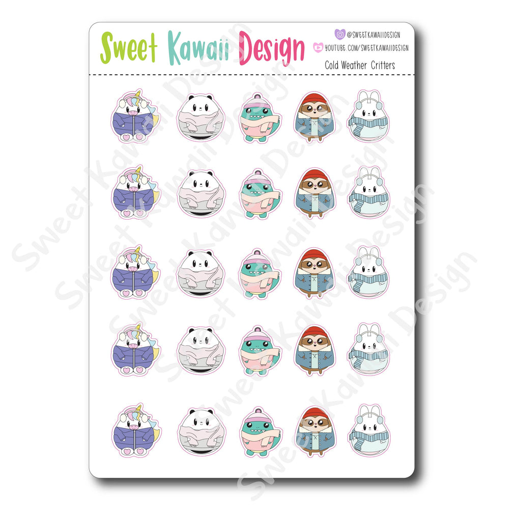 Kawaii Cold Weather Critter Stickers