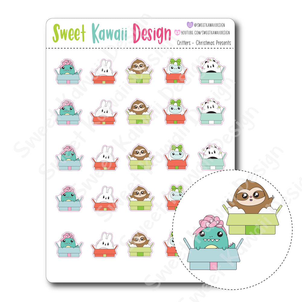Kawaii Critter Stickers - Christmas Presents