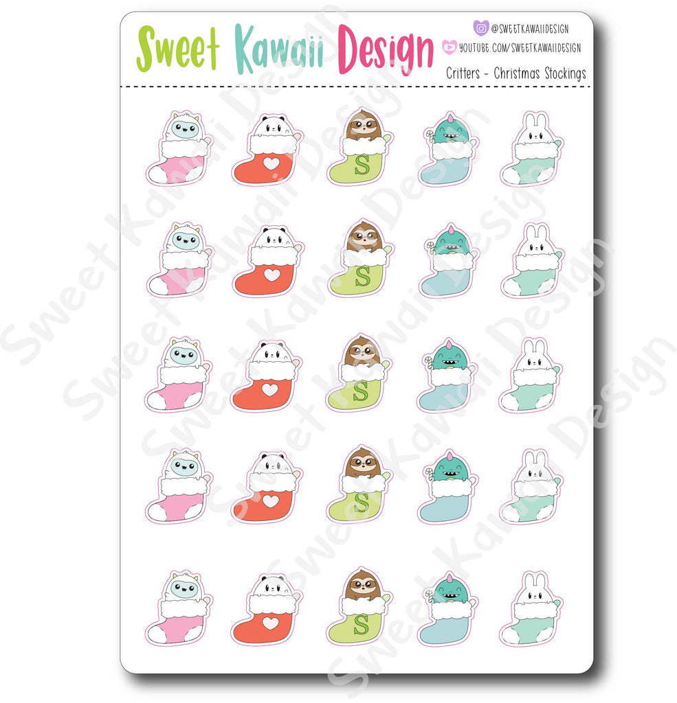 Kawaii Critter Stickers - Christmas Stockings
