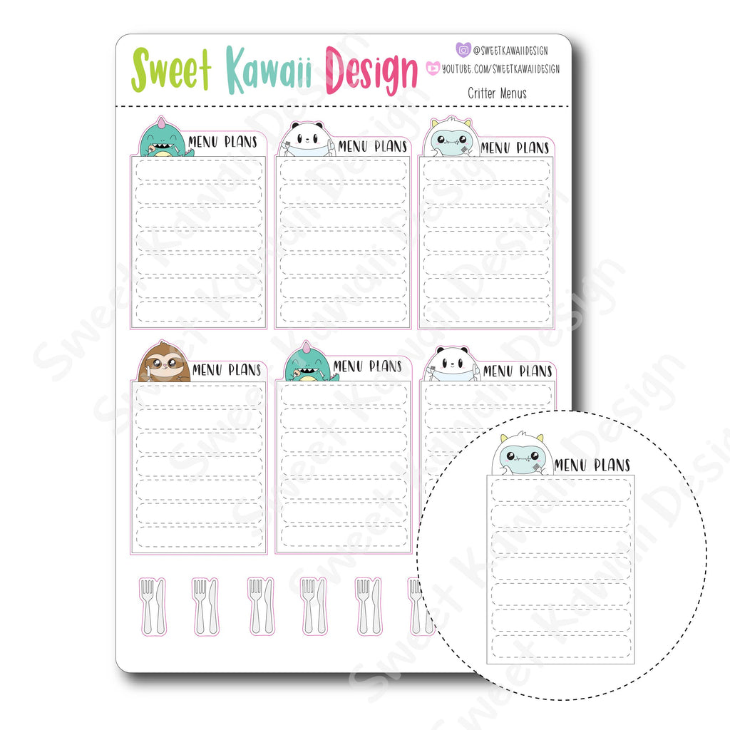 Kawaii Critter Menu Stickers