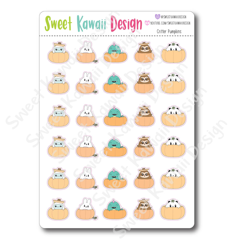 Kawaii Critter Stickers - Pumpkins