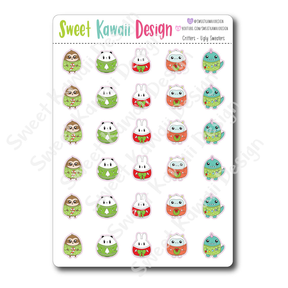 Kawaii Critter Stickers - Ugly Sweater