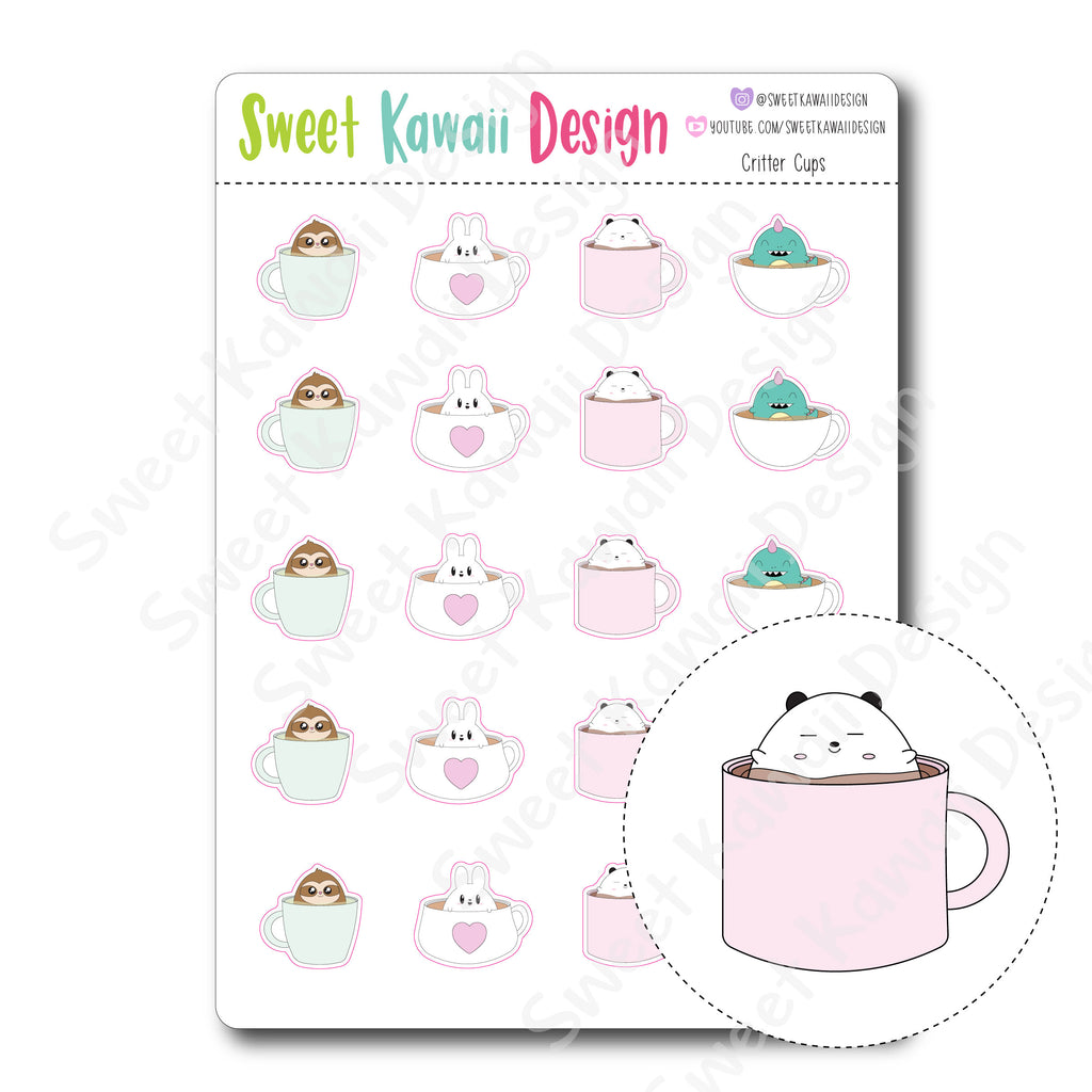 Kawaii Critter Cup Stickers