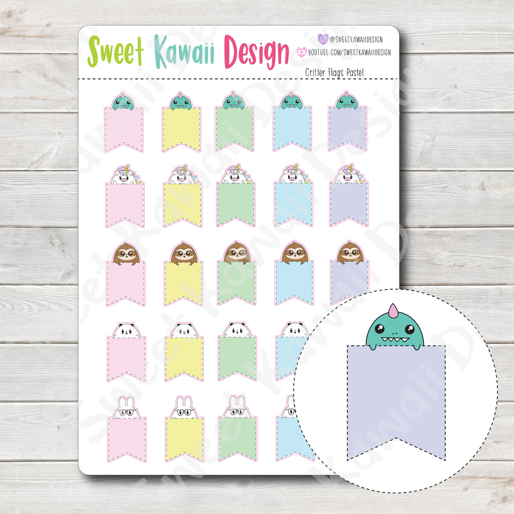 Kawaii Critter Flag Stickers