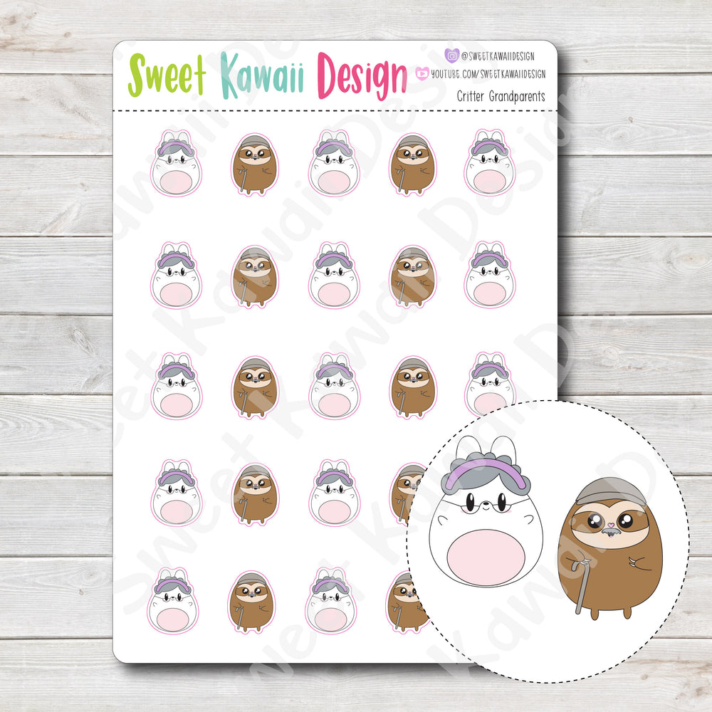 Kawaii Critter Grandparents Stickers