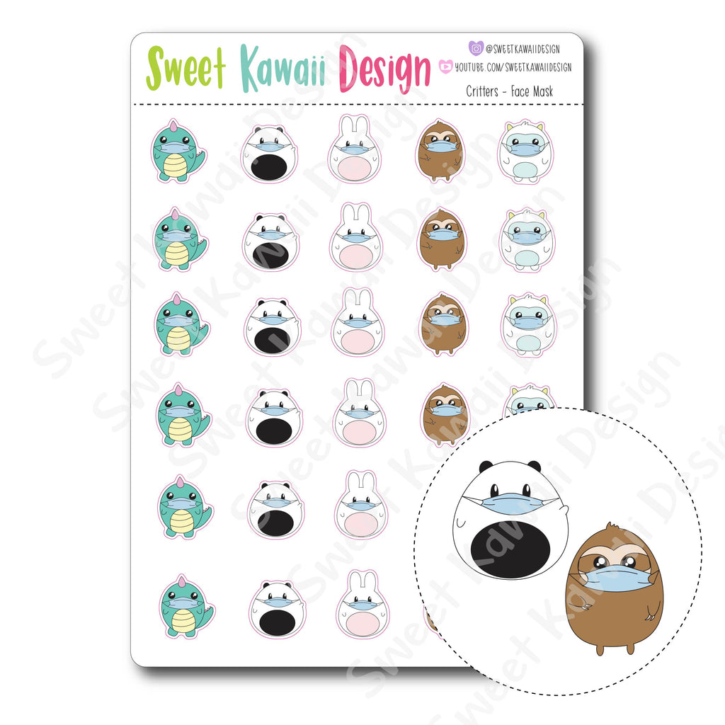 Kawaii Critters Stickers - Face Mask