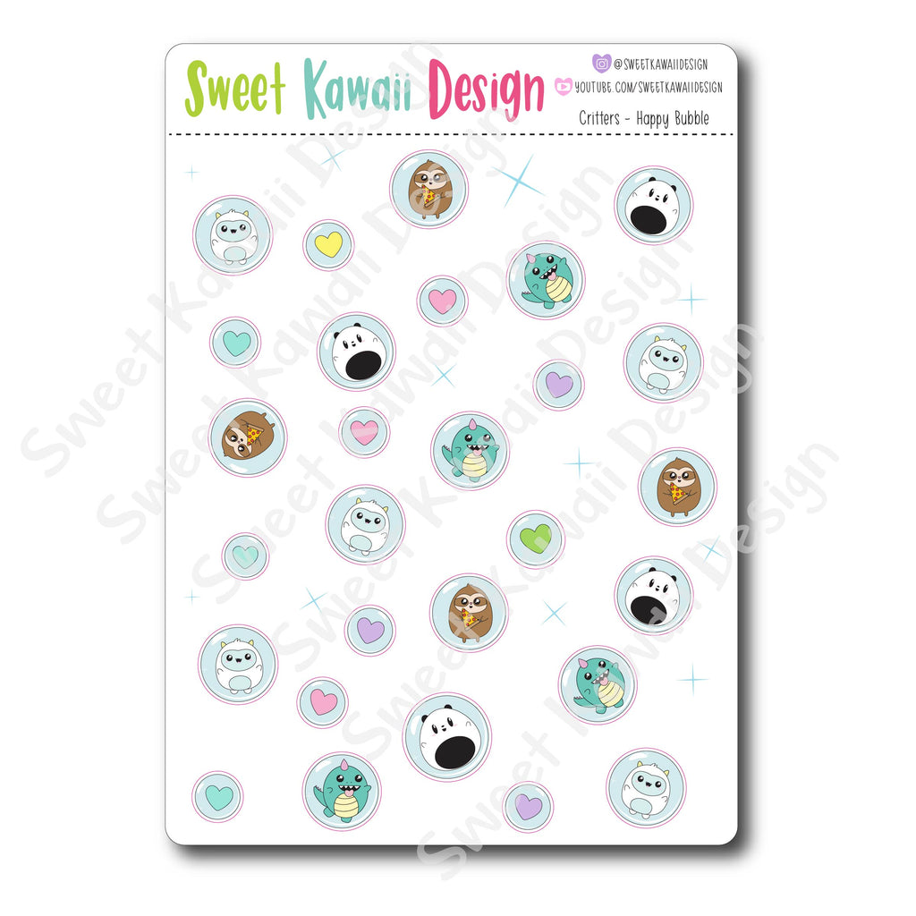 Kawaii Critters Stickers - Happy Bubbles