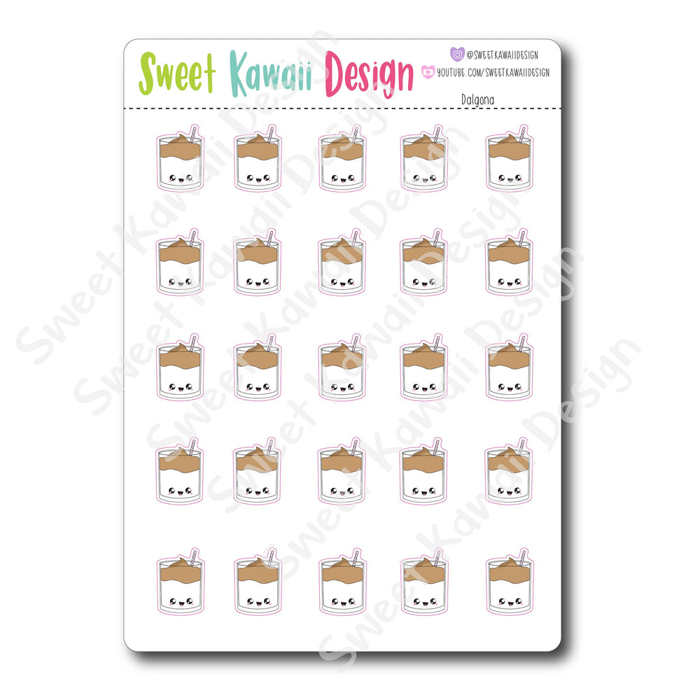 Kawaii Dalgona Coffee Stickers