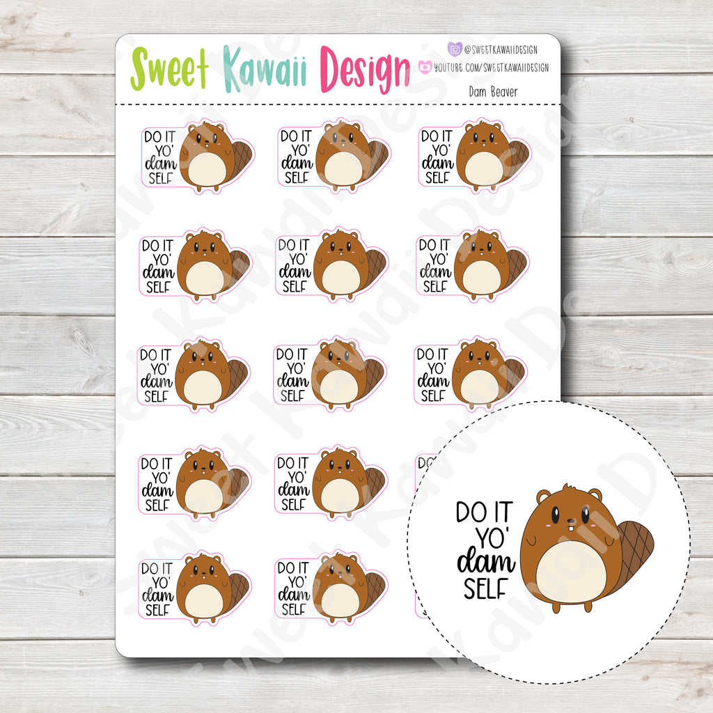 Kawaii Dam Beaver Stickers