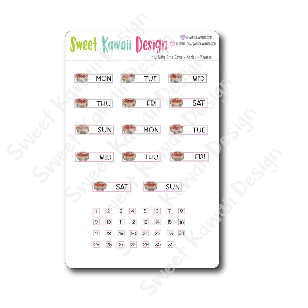 Kawaii Date Cover Stickers - Apples