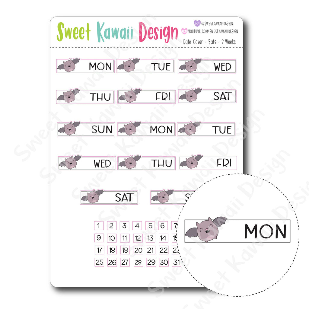 Kawaii Date Cover Stickers - Bats