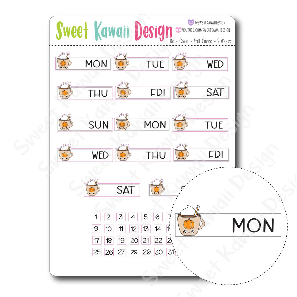 Kawaii Date Cover Stickers - Fall Cocoa