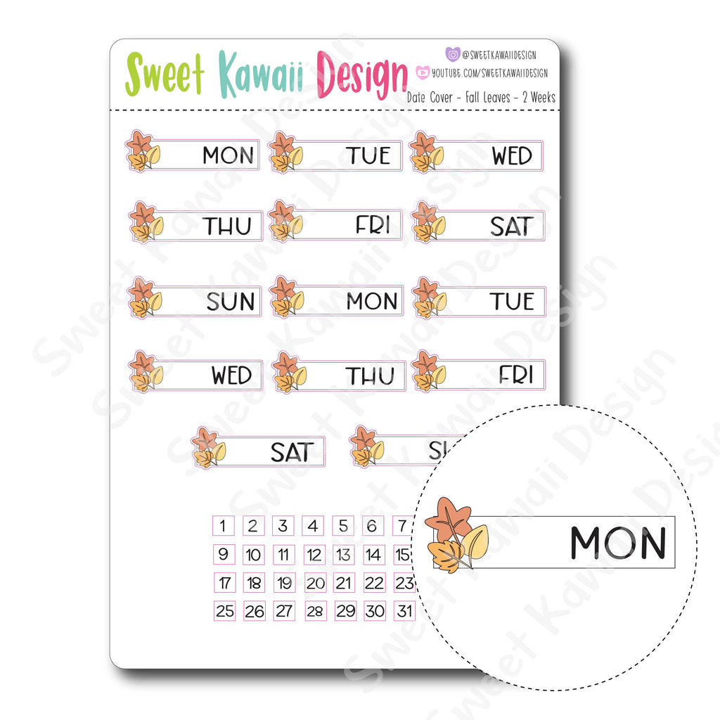 Kawaii Date Cover Stickers - Fall Leaves