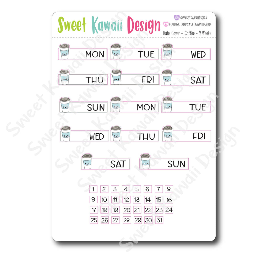 Kawaii Date Cover Stickers - Coffee