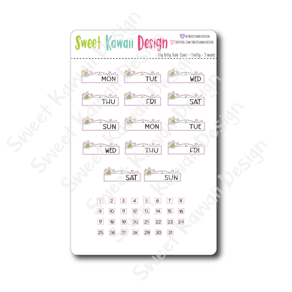 Kawaii Date Cover Stickers - Firefly