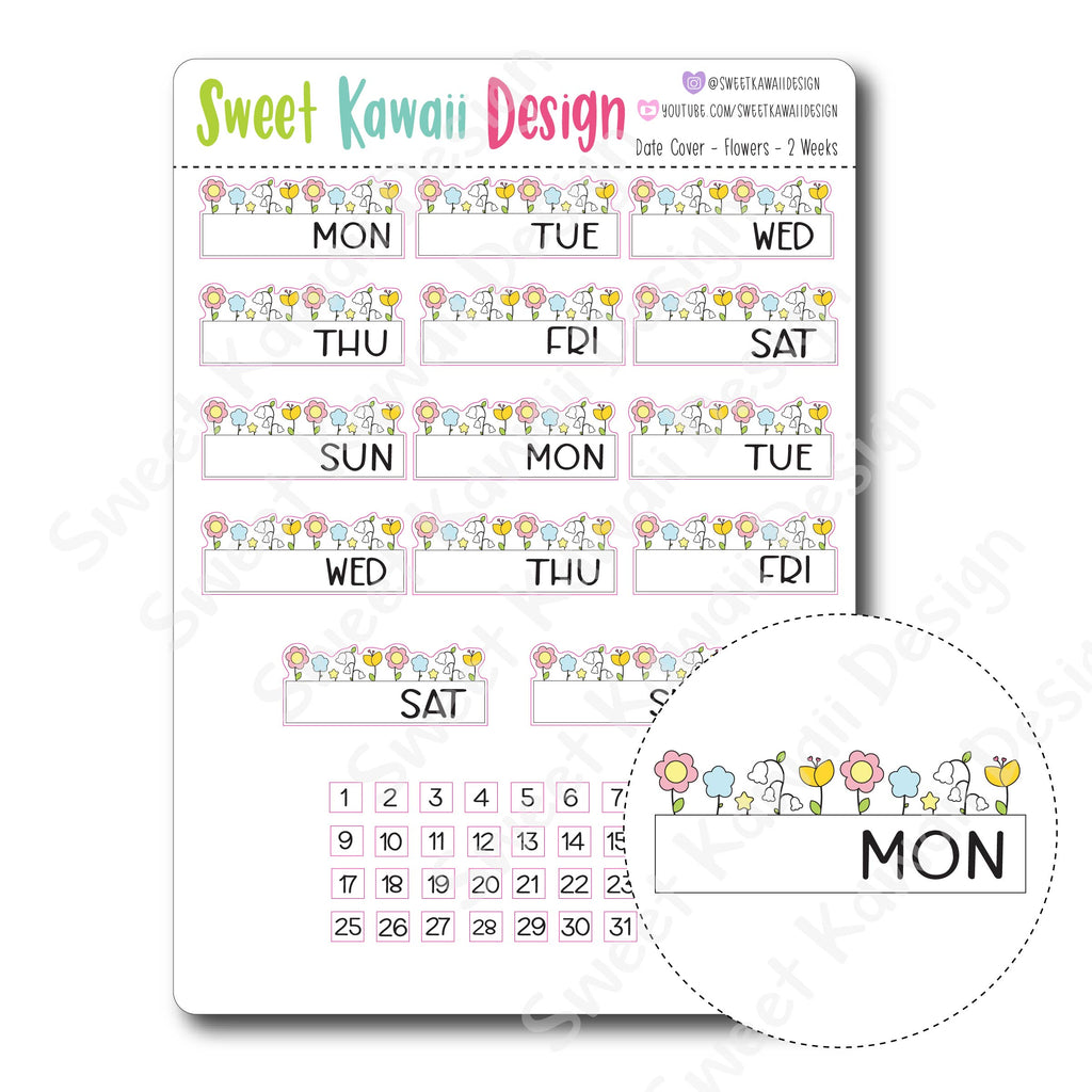 Kawaii Date Cover Stickers - Flowers