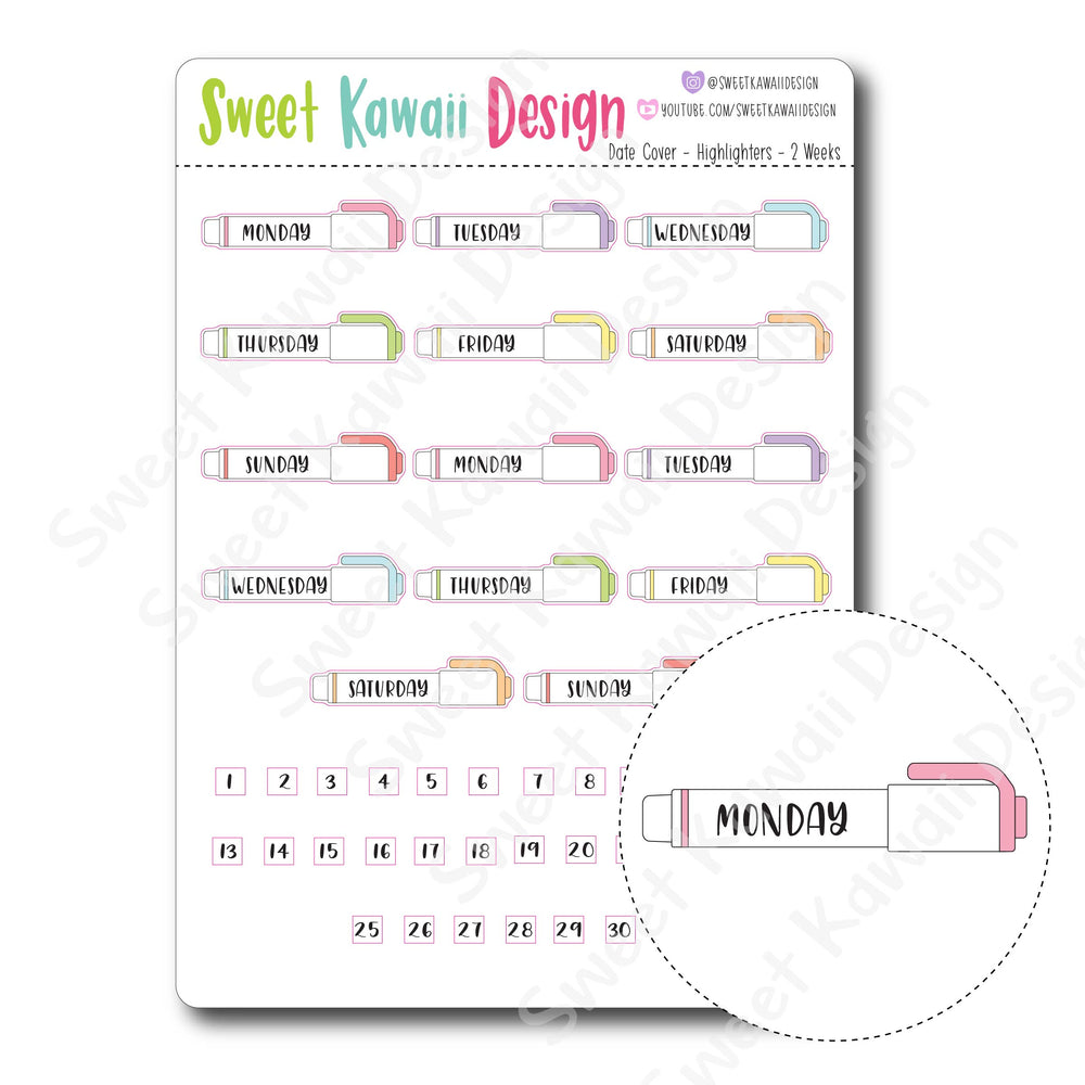 Kawaii Date Cover Stickers - Highlighters