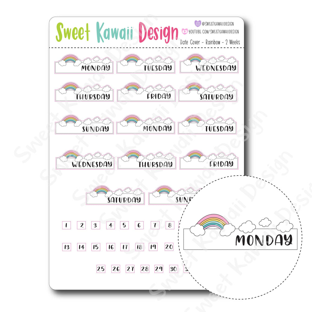 Kawaii Date Cover Stickers - Rainbow