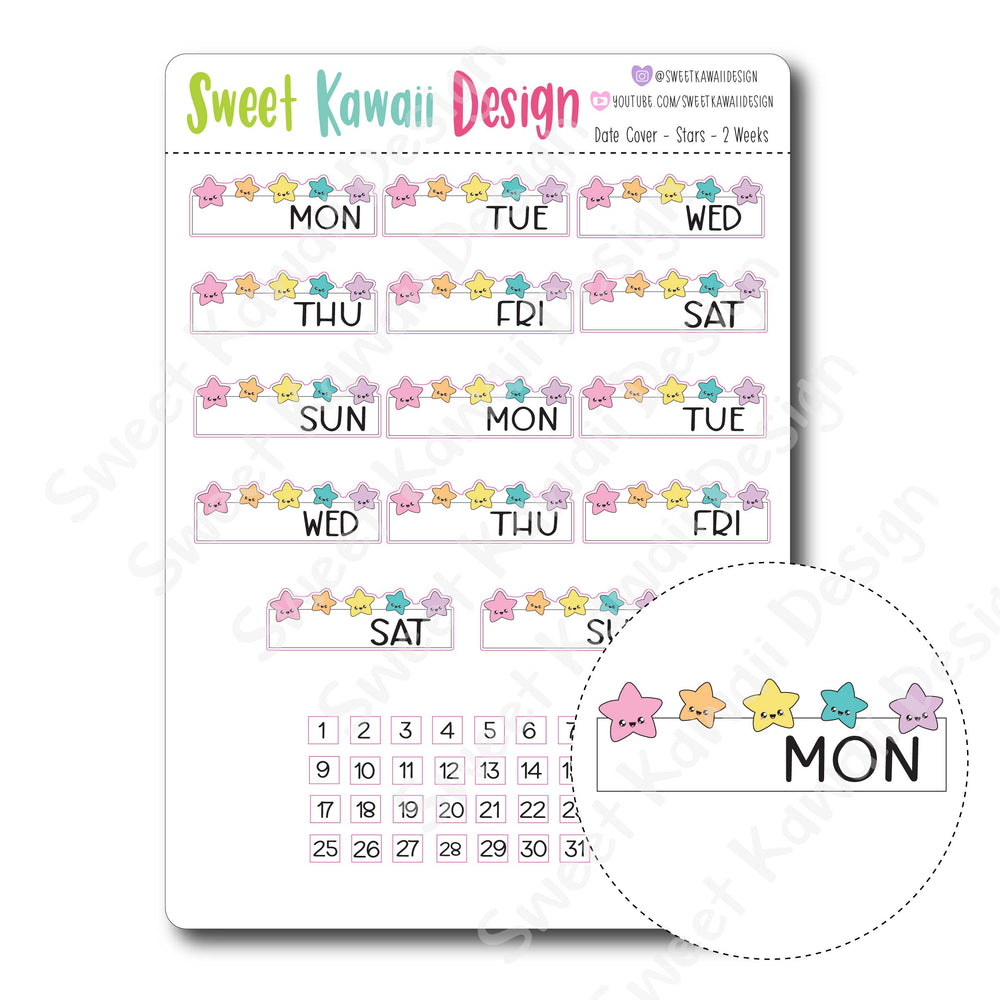 Kawaii Date Cover Stickers - Stars