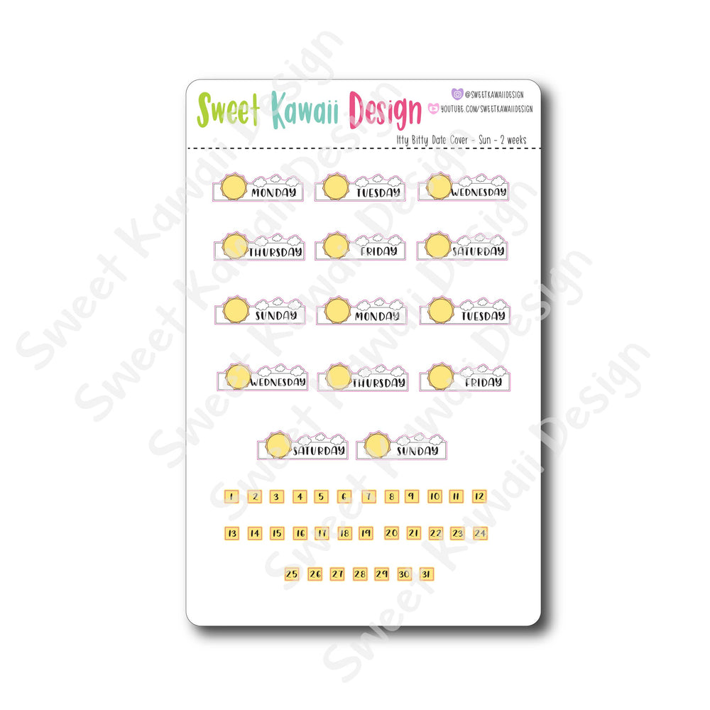 Kawaii Date Cover Stickers - Sun
