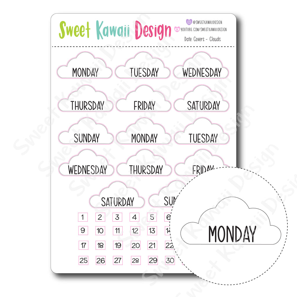 Kawaii Date Cover Stickers - Clouds