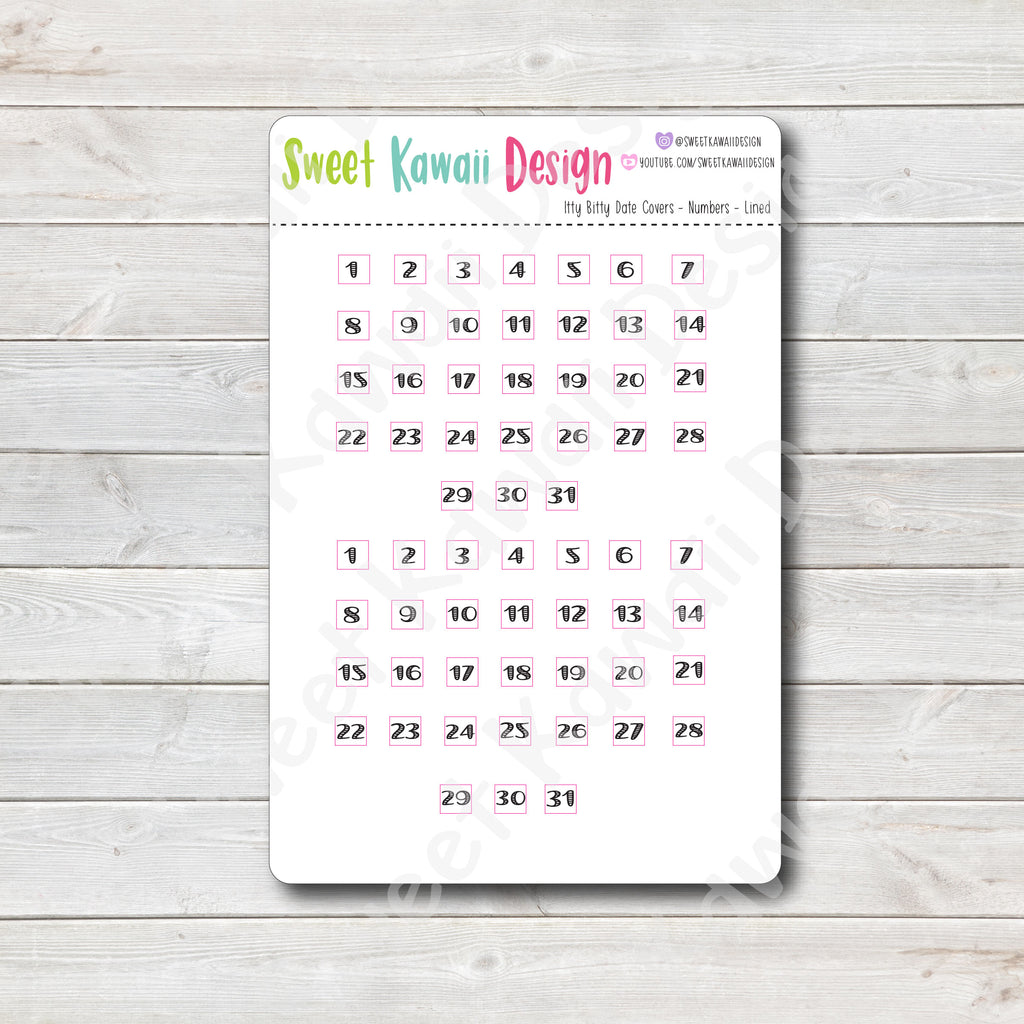 Kawaii Date Cover Stickers - Numbers Only - Lined