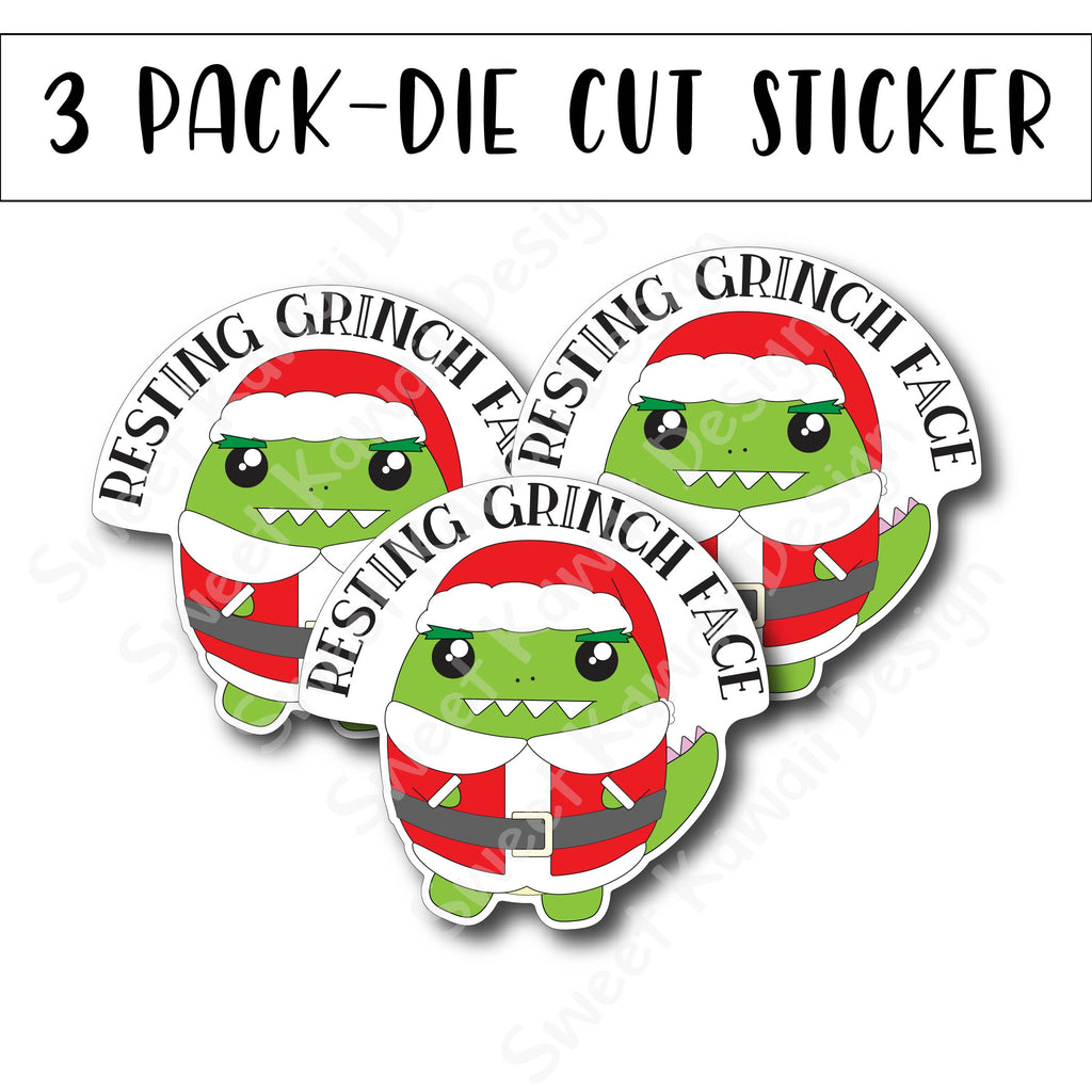 Kawaii Resting Grinch Face Diecut Sticker Set