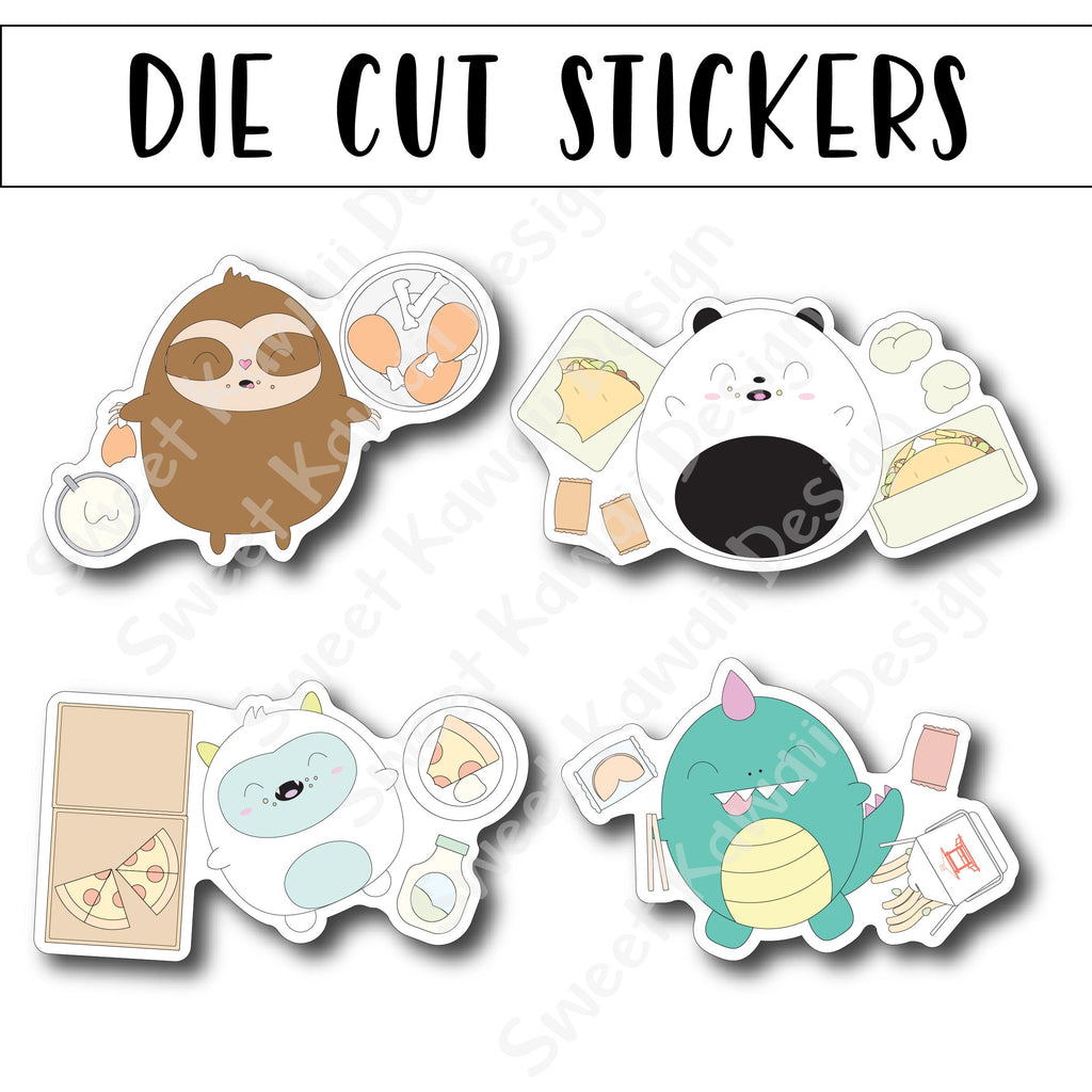 Kawaii Food Coma Die Cut Stickers