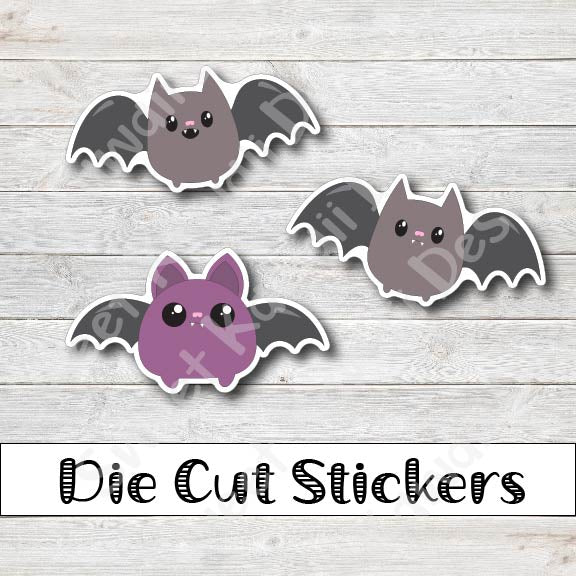Kawaii Bats Diecut Sticker Set