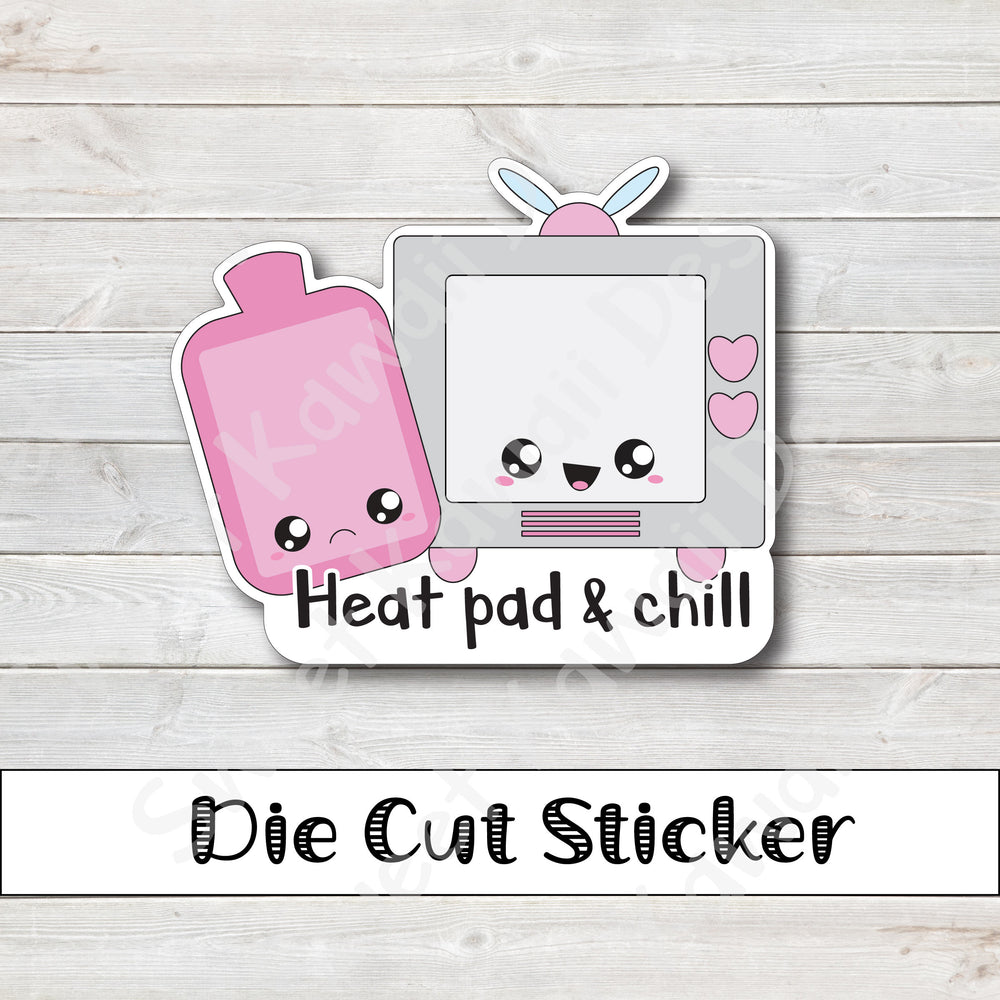 Kawaii Heat Pad and Chill Die Cut Sticker