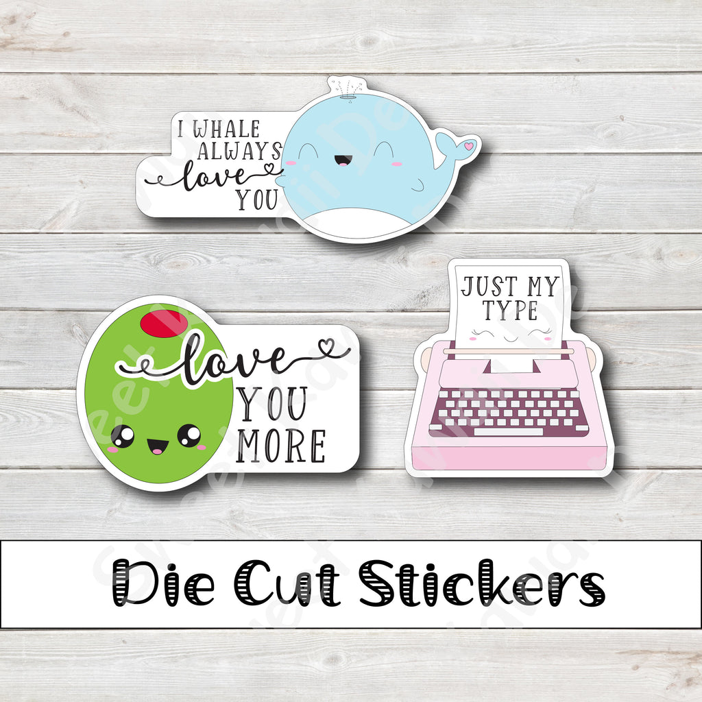 Kawaii Love Puns Die Cut Sticker Set