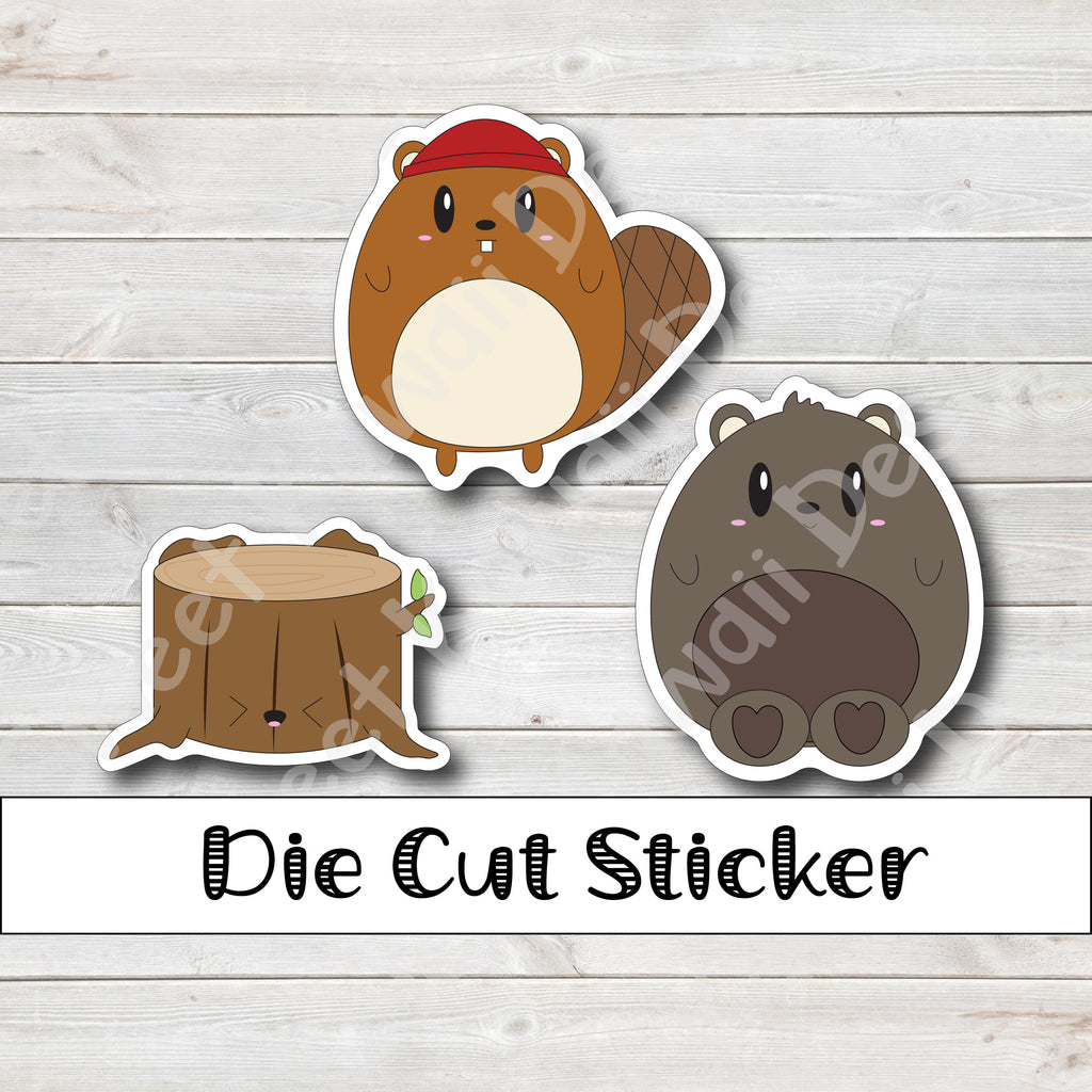 Kawaii Lumberjack Die Cut Sticker Set