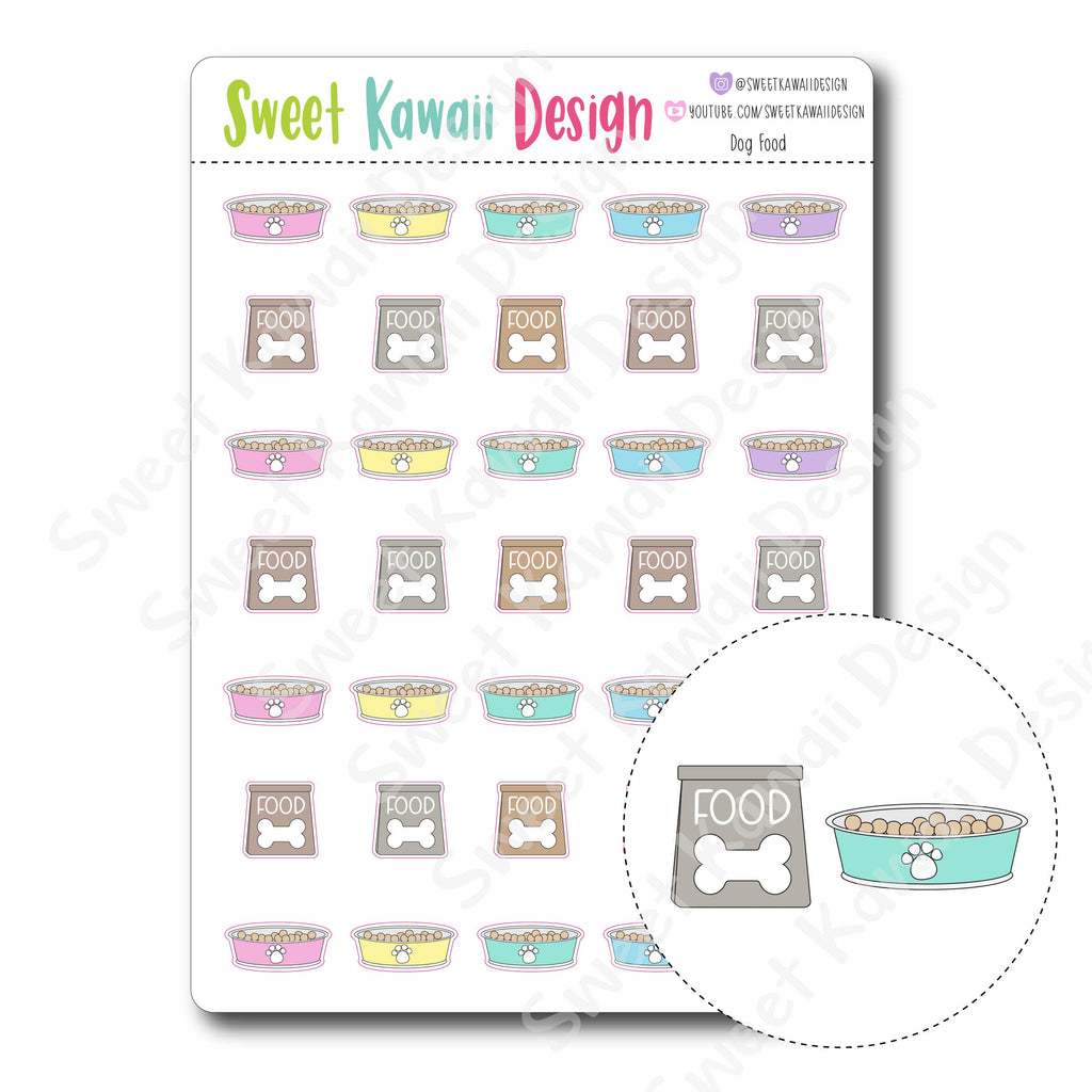 Kawaii Dog Food Stickers
