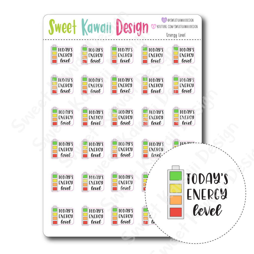 Kawaii Energy Level Stickers