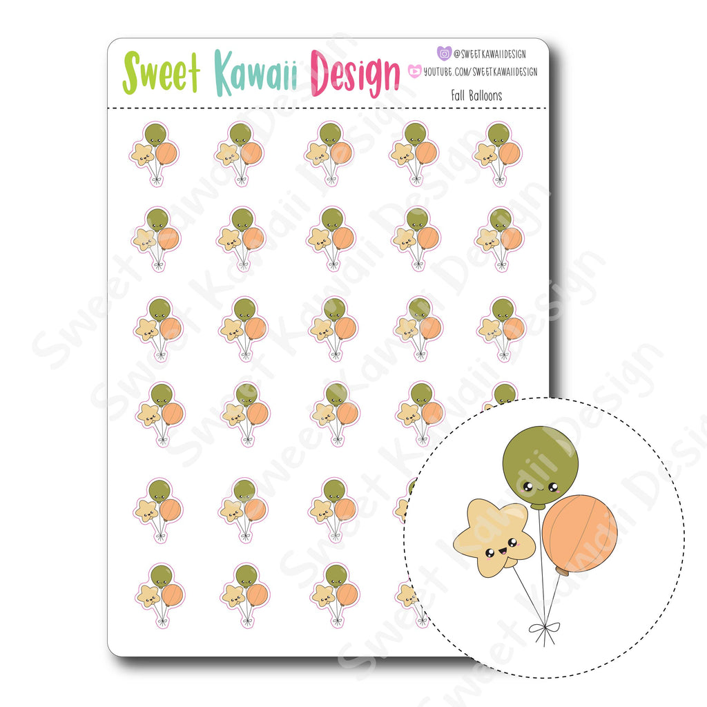 Kawaii Fall Balloon Stickers