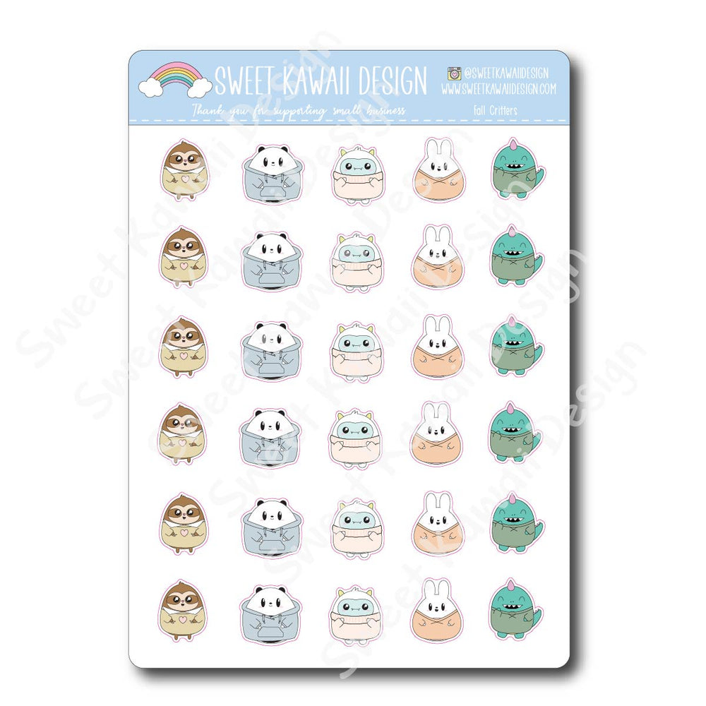 Kawaii Fall Critter Stickers