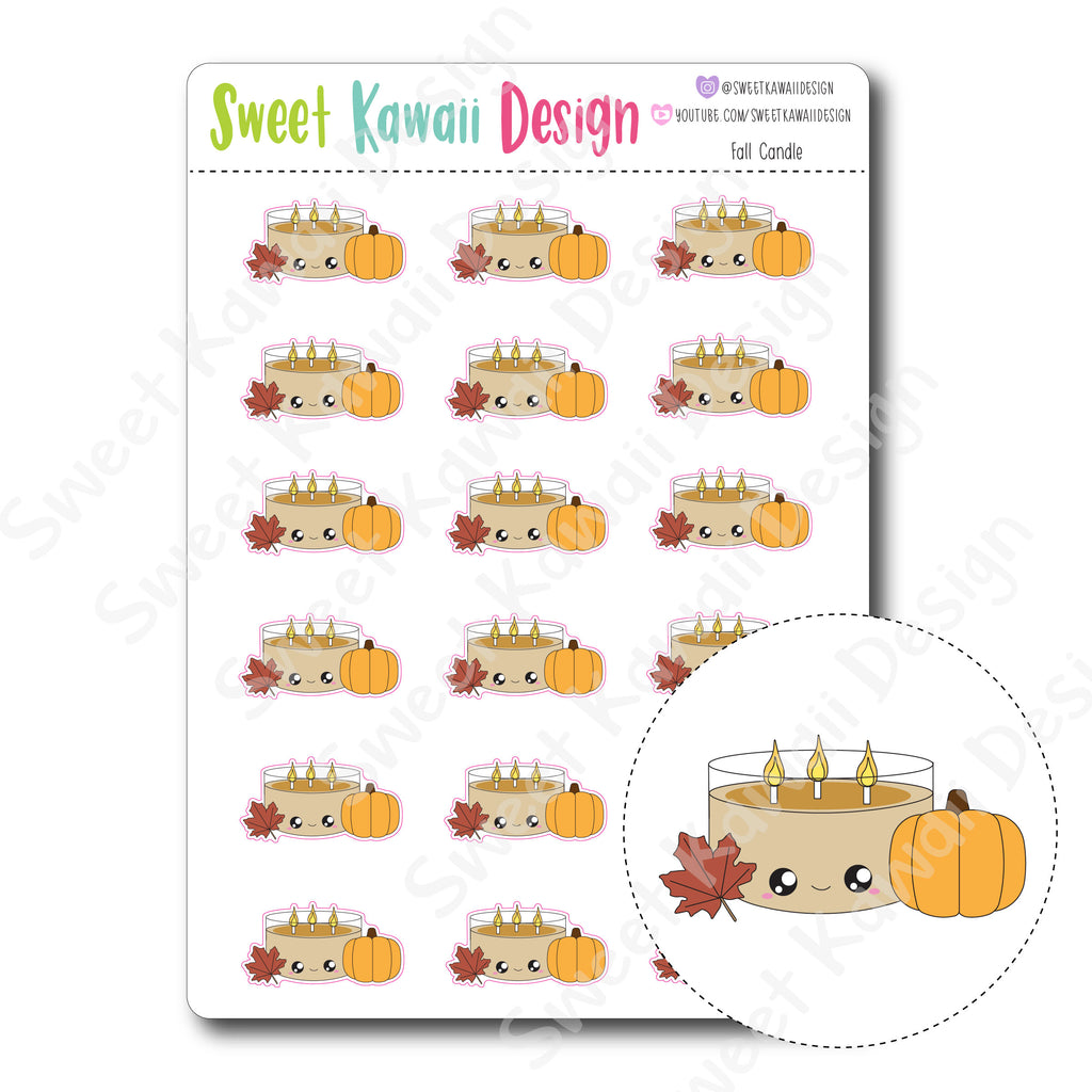 Kawaii Fall Candle Stickers