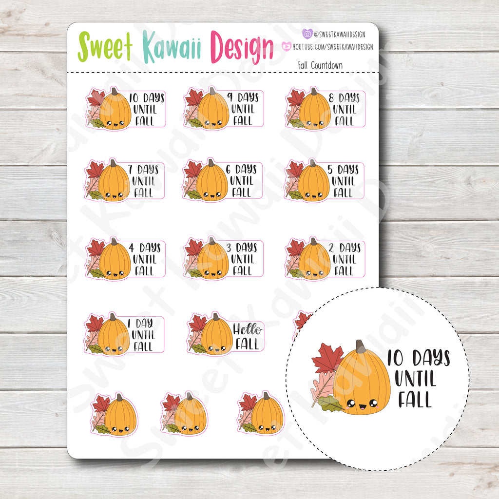 Kawaii Fall Countdown Stickers