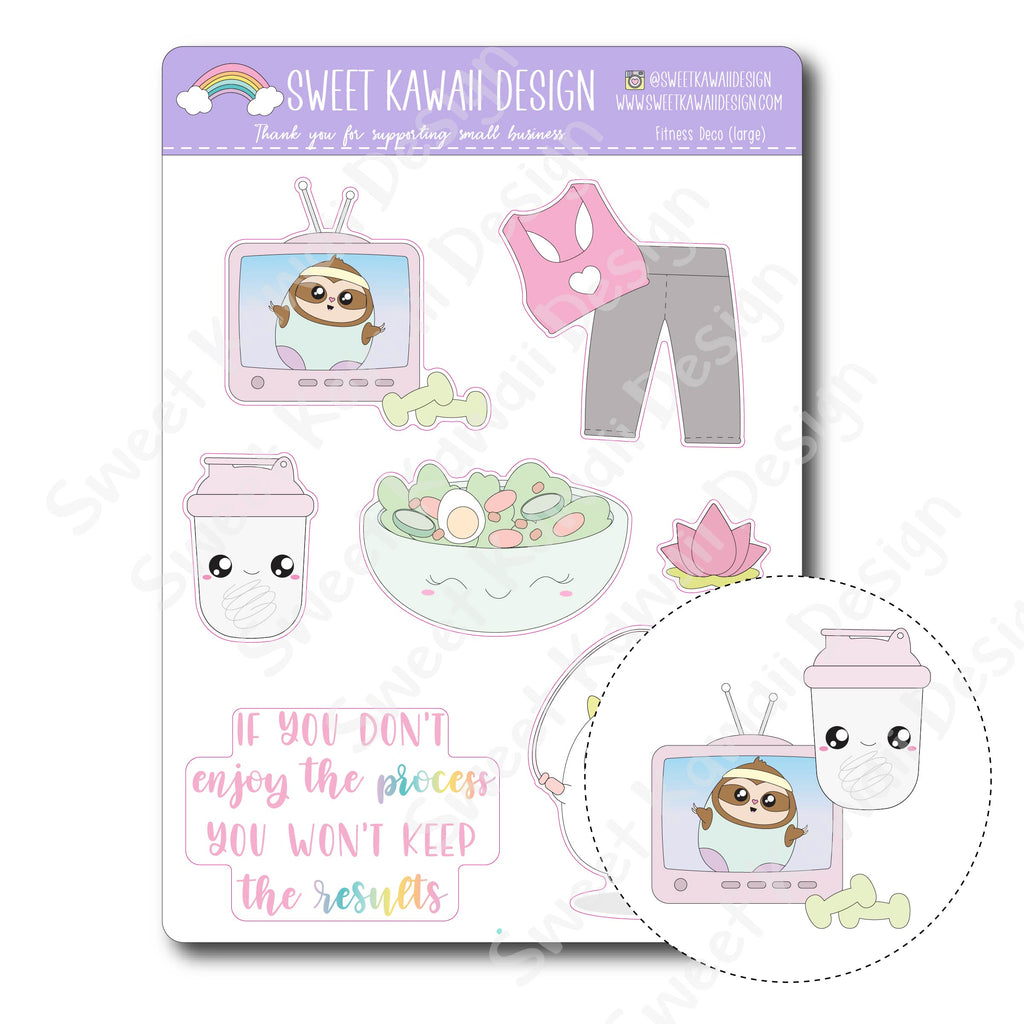Kawaii Fitness Deco (Large) Stickers