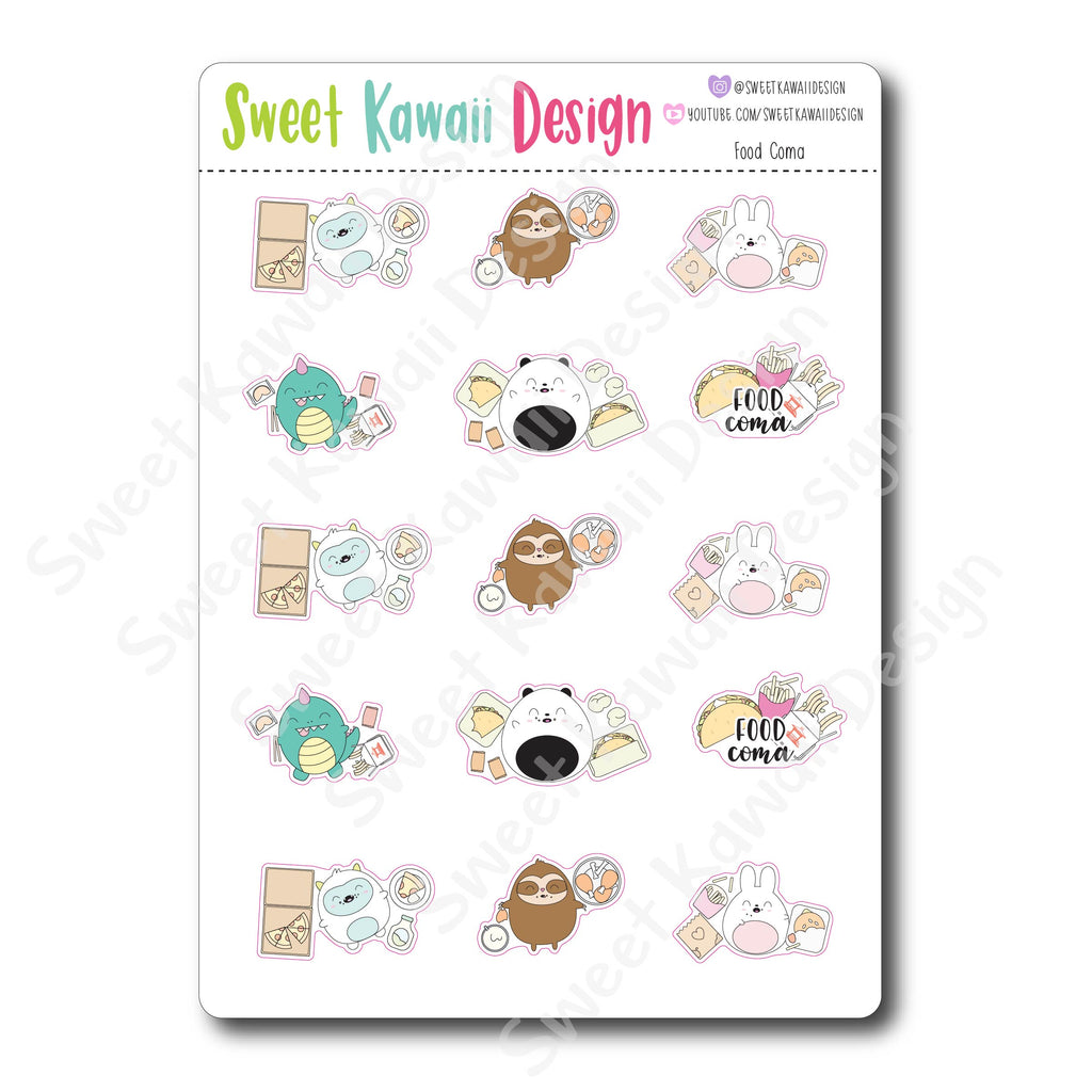 Kawaii Food Coma Stickers