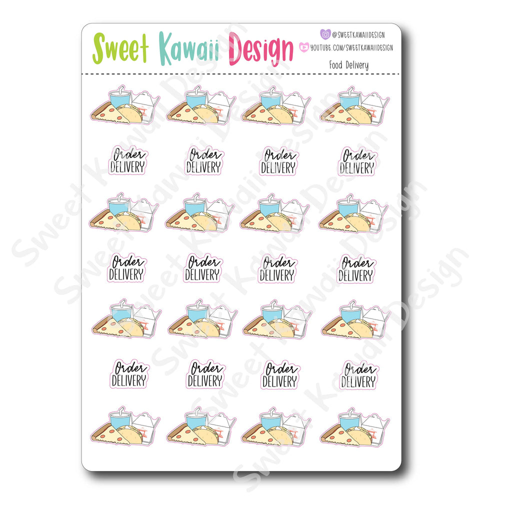 Kawaii Food Delivery Stickers