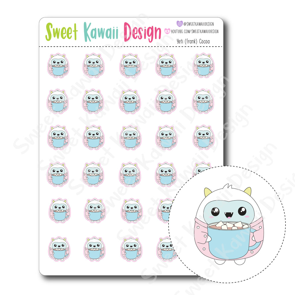 Kawaii Yeti  Stickers - Cocoa