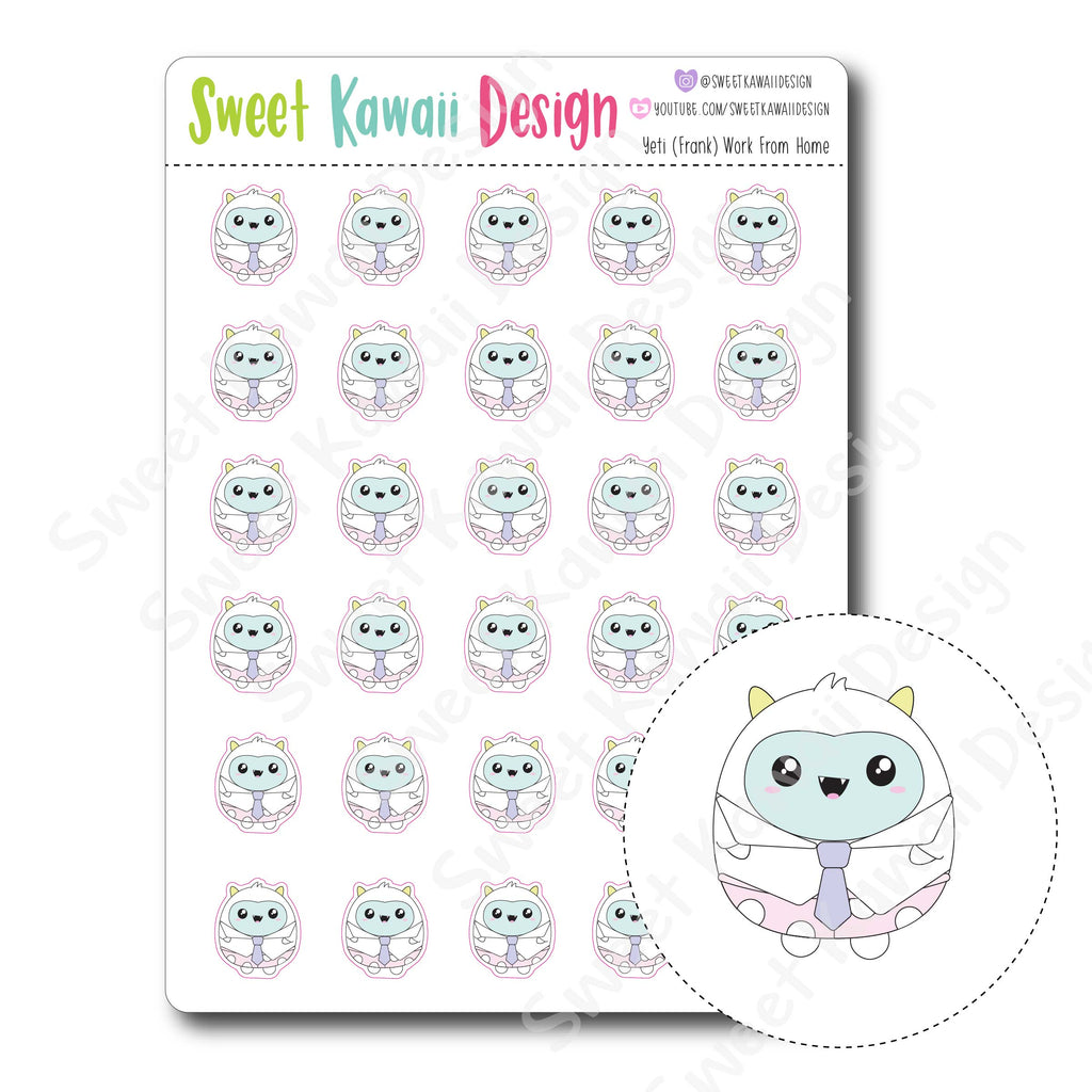 Kawaii Yeti (Frank) Stickers - Work From Home