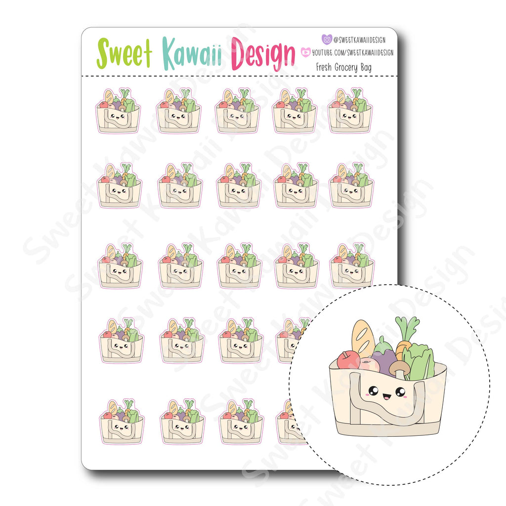 Kawaii Fresh Grocery Bag Stickers