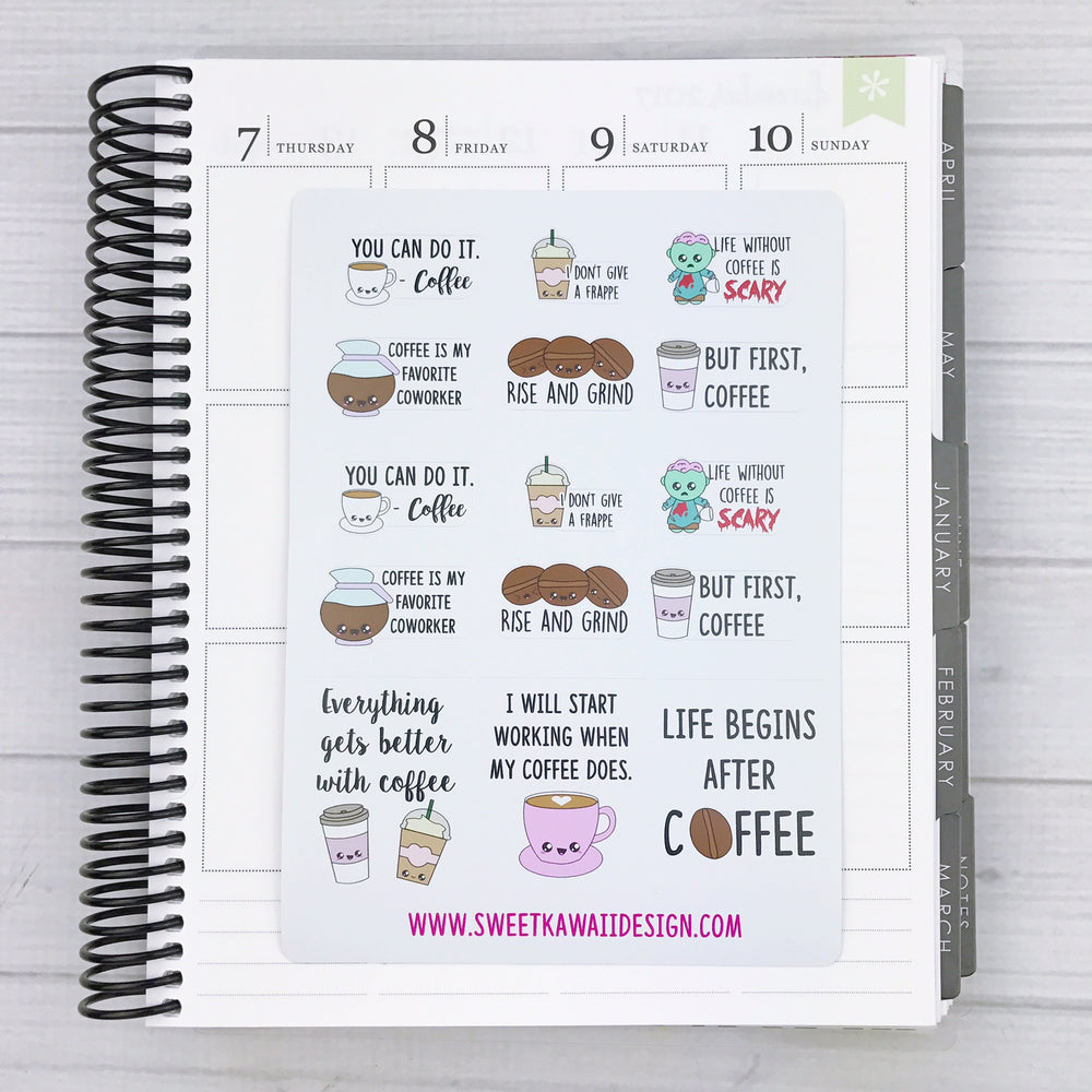 Kawaii Coffee Love Stickers