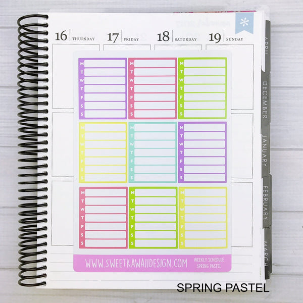 Blank Schedule - MORE COLORS AVAILABLE