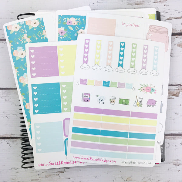 Kawaii Plan With Me - Floral TEAL HORIZONTAL