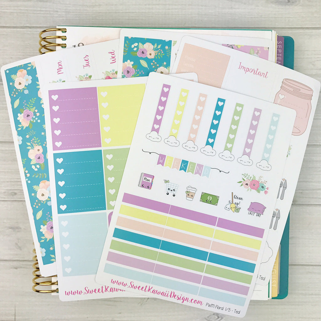 Kawaii Plan With Me - Teal Floral